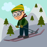 Ski. Illustration of a cute cartoon boy enjoying a ski ride Stock Photos