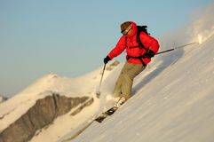 Ski. Man doing extreme ski in the powder Stock Images