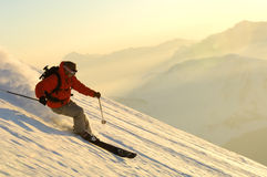 Ski. Man doing extreme ski in the powder Royalty Free Stock Photos