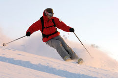 Ski. Man doing extreme ski in the powder Stock Photography