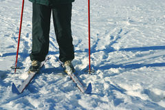 Ski. Er with red pole having break in snow during winter in Canada Stock Photo