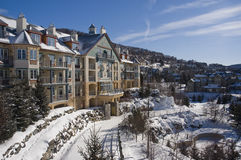Ski. Mont Tremblant ski village in Quebec Canada stock photo