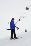 ski allant t de fille de bar vers le haut images libres de droits