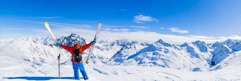 Ski with amazing view of swiss famous mountains in beautiful winter snow Mt Fort. The skituring, backcountry skiing in fresh royalty free stock images