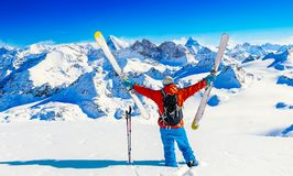 Ski with amazing view of swiss famous mountains in beautiful winter snow Mt Fort. The skituring, backcountry skiing in fresh stock images