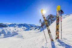 Ski with amazing view of 3 valeys famous mountains in beautiful Royalty Free Stock Photography