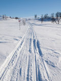 Ski And Snow Scooter Tracks In Winter Landscape Stock Images