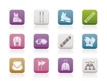 Ski And Snowboard Equipment Icons Stock Image