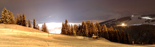 Ski area. Panorama by night Stock Image
