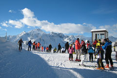 The Ski Area. Skiers and snowboarders in ski area Royalty Free Stock Photography