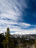 Ski area with blue sky Royalty Free Stock Photography