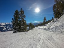 Ski area with fantastic weather stock images