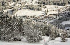 Ski au-dessus du village Photographie stock libre de droits