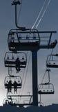 Ski-Aufzug-Schattenbild Stockfotos