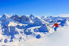 Ski avec la vue étonnante Photographie stock