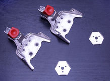 Ski bindings sport vintage metal mounts fasteners snow cross cou Royalty Free Stock Photos