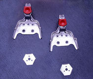 Ski bindings sport vintage metal mounts fasteners snow cross cou Royalty Free Stock Photography