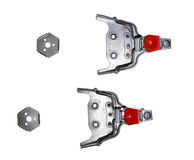Ski bindings sport vintage metal mounts fasteners snow cross cou. Ntry distance isolated Royalty Free Stock Photo