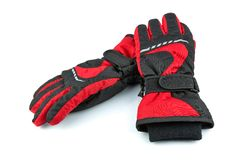 Ski black-and-red gloves Royalty Free Stock Image