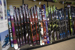 Ski boards in store. Lots of choices of ski boards in Sports Authority near Seattle Stock Images