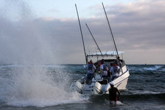Ski boat surf launch Sodwana Bay. Royalty Free Stock Photo