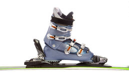 Ski and boot. Modern ski and boot isolated on white background Stock Images