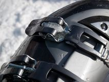 Ski boot. Closeup view of a buckle on the ski boot stock photos