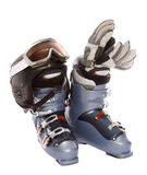 Ski boot's helmet glove and mask goggles Royalty Free Stock Image