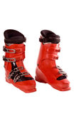 Ski boots. On an isolated white background Royalty Free Stock Photography