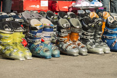 Ski boots. Market of used ski boots for editorial use only Royalty Free Stock Photos