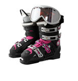 Ski boots with mask Royalty Free Stock Image