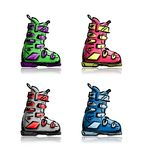 Ski boots set, sketch for your design Stock Photo