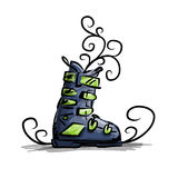 Ski boots, sketch for your design Stock Image
