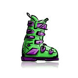 Ski boots, sketch for your design Royalty Free Stock Photo