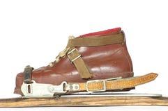 Ski boots ski bindings vintage Stock Image