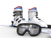 Ski boots and ski goggles on white background Royalty Free Stock Images