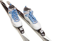 Ski boots with skis Royalty Free Stock Images