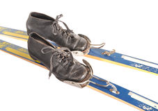 Ski boots and skis. Boots are inserted into skis Stock Images