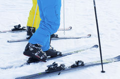 Ski boots and skis. Feet put in ski boots and skis Royalty Free Stock Photography