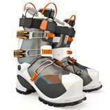 Ski Boots. Sports shoes, skiing, isolated on a white background Stock Photos