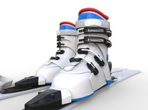 Ski boots on white background Royalty Free Stock Images