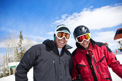 Ski Buddies having fun skiing Royalty Free Stock Photo