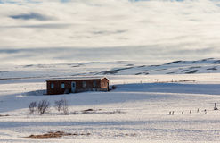Ski cabin near godafoss falls, Iceland. Royalty Free Stock Images