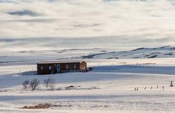 Ski cabin near godafoss falls, Iceland. Royalty Free Stock Images
