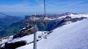 Ski cable car structure at snow mountains Titlis Stock Image
