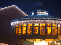 Ski cafe at night. Beautiful ski cafe at night Royalty Free Stock Photo