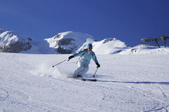 Ski Carving Turn in French Alps Royalty Free Stock Photography