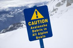 Ski caution sign in snow. Royalty Free Stock Image