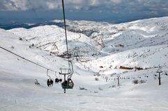 Ski center on Mount Hermon in Israel. Royalty Free Stock Image