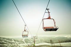 Ski chair lift. In mountains Stock Image